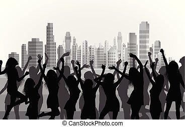 ville, danse, illustration, silhouettes, fond, femmes, heureux