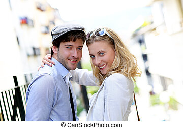 ville, date, couple, jeune