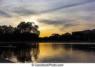 ville, dc, capitole, piscine, washington, refléter, coucher soleil, usa.