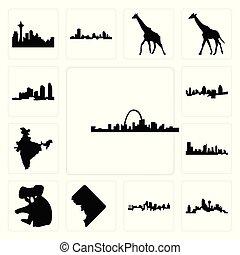 ville, dc, ensemble, cincinnati, dallas, île, kansas, inde, long, rue, horizon, fond, carte, louis, koala, icônes, blanc, horizon, austin