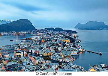 ville, de, alesund, dans, norvège