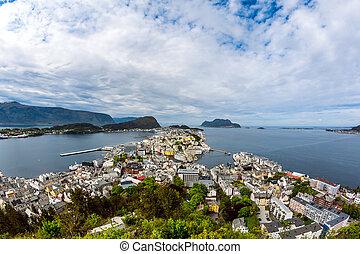 ville, de, alesund, norvège