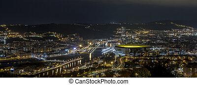 ville, de, bilbao, soir