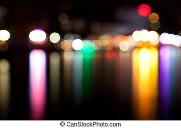 ville, defocused, lumières, nuit