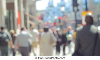 ville, dehors, foyer, gens