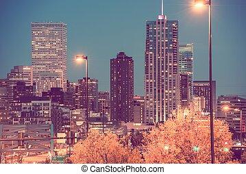 ville, denver, nuit