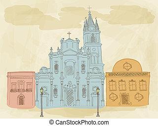 ville, dessiné, main