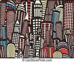 ville, dessin animé, coloré