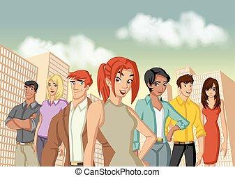 ville, dessin animé, jeune, professionnels
