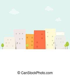 ville, dessin animé, vue