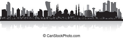 ville, dhabi, silhouette, horizon, abu, uae