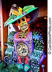 ville, diego, vieux, san, figure, mort, californie, décorations, mexicain, noël