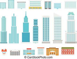 ville, différent, éléments, collection., moderne, maisons, vecteur, scyscrapers