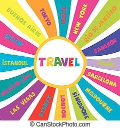 ville, différent, collage, voyage, noms, mondiale