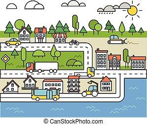 ville, différent, concept, road., vie, illustration, véhicule, minimalisme
