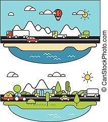 ville, différent, road., vie, c, illustration, véhicule, minimalisme