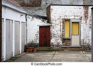 ville, district résidentiel, garages