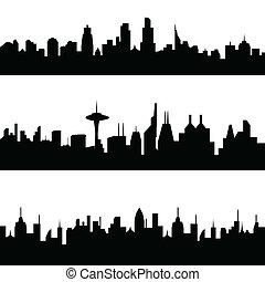 ville, divers, horizons