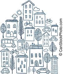 ville, doodles, forme, maison