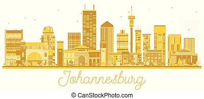 ville, doré, afrique, johannesburg, silhouette., horizon, sud