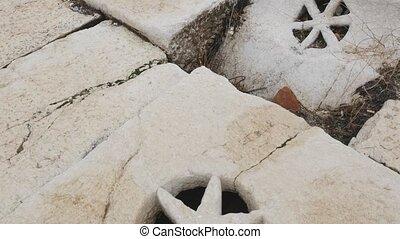 ville, drain, détail, eau, grec, ancien