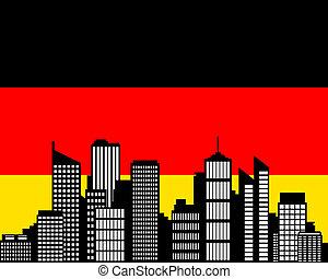 ville, drapeau, allemagne