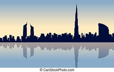 ville, dubai, paysage, silhouettes, beauté