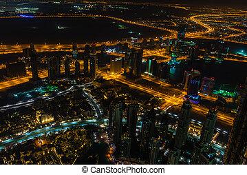 ville, dubai, scène, en ville, lumières, nuit