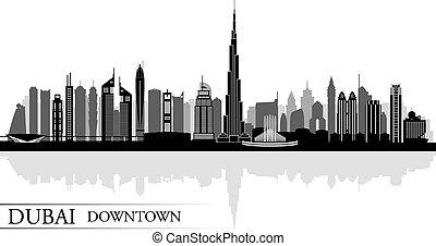 ville, dubai, silhouette, en ville, horizon, fond