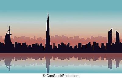ville, dubai, silhouettes, paysage