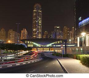 ville, dubai, temps nuit