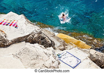 ville,  Dubrovnik, mur, au-dessous, Croatie, mer, natation