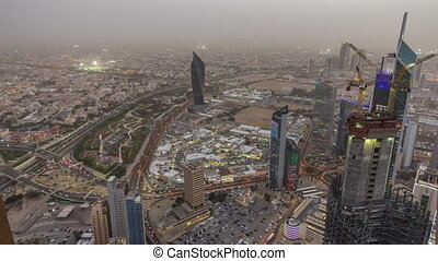 ville, dusk., gratte-ciel, ville, koweït, timelapse, en ville, milieu, horizon, nuit, est, jour, éclairé