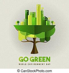ville, eco, jour arbre, environnement, amical, carte