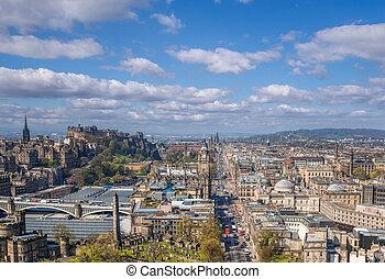ville, edimbourg, vieux, panorama, ecosse, contre, rue, château, princesse