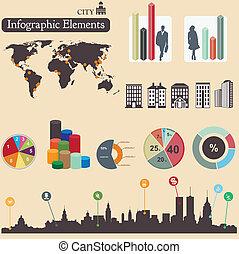 ville, elements., infographics