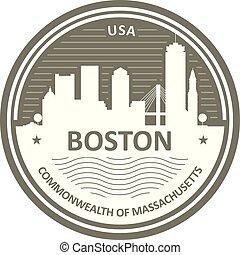 ville, emblème, boston, -, horizon, écusson
