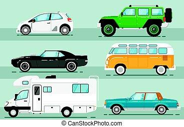 ville, ensemble, auto, isolé, vecteur, véhicule