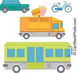 ville, ensemble, coloré, plat, icons., vecteur, transport