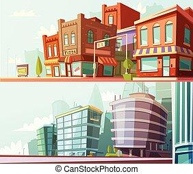 ville, ensemble, horizon, 2, bannières horizontales