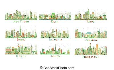 ville, ensemble, illustration., résumé, vecteur, 9, skyline.