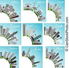 ville, ensemble, illustration., space., horizon, vecteur, 9, copie