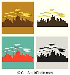 ville, ensemble, illustration., urbain, résumé, moderne, plat, style., sombre, arrière-plan., horizon, vecteur, nuit, cityscape, paysage., scape.