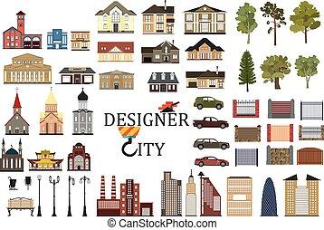 ville, ensemble, infographics