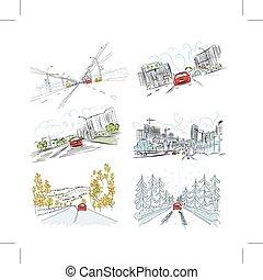 ville, ensemble, route, voitures, main, conception, illustrations, dessiné, ton