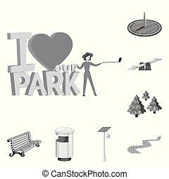 ville, ensemble, rue, illustration., objet, parc, isolé, vecteur, icon., stockage