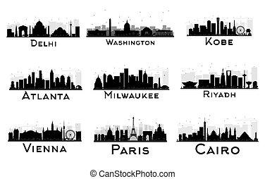 ville, ensemble, silhouette., horizon, noir, blanc