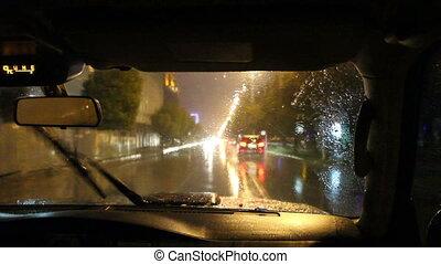 ville, entiers, conduite, voiture, timelapse, nuit, cabin., hd., vue