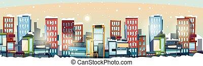 ville, espace, grand, moderne, horizon, cityscape, copie, bannière, vue