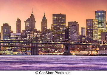 ville, est, york, cityscape, nouveau, rivière